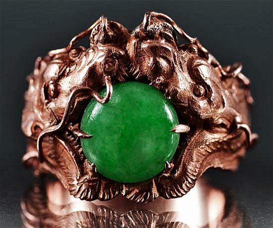 Chinese Jade Ring Double Dragon Gold Aloha Memorabilia Company Green Jadite